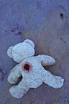 Pale beige teddy bear lying face down on purple and orange rough slate with possible gunshot wound in back