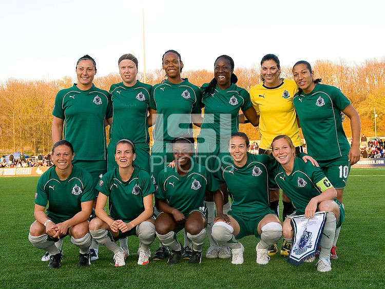 The St. Louis Athletica starting eleven. Saint Louis Athletica were defeated 1-0 by Chicago Red Stars in which was both teams inaugural game, played at Korte Stadium, Edwardsville, Illinois on April 4, 2009. Photo by Scott Rovak /isiphotos.com