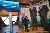 Rotterdam, Netherlands, Januari 06, 2016,  Press conference ABNAMROWTT, Wheelchair Tournament Director Esther Vergeer is being interviewd by Edward van Cuilenborg, in the middle Tournamen Director Richard Krajicek<br /> Photo: Tennisimages/Henk Koster