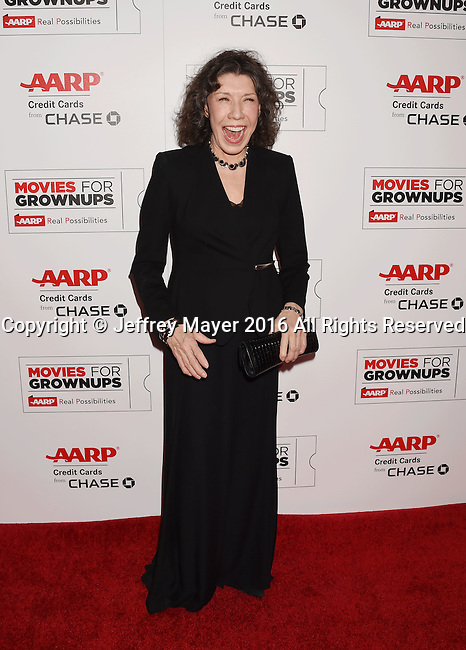 BEVERLY HILLS, CA - FEBRUARY 08:  Actress/comedienne Lily Tomlin attends AARP's Movie For GrownUps Awards at the Regent Beverly Wilshire Four Seasons Hotel on February 8, 2016 in Beverly Hills, California.