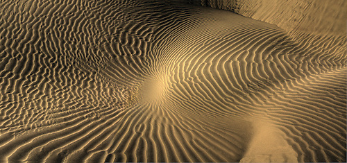 Lines of various shapes and sizes form in the sand at Eureka Dunes at Death Valley National Park, California