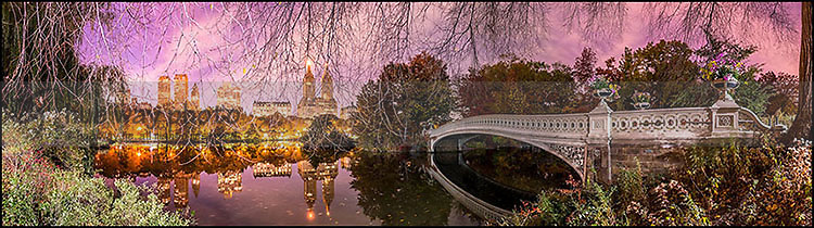 The Bow Bridge in Central Park at a quiet fall night. Very sharp capture with amazing details.