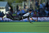 New Zealand's Blair Tickner fields during the 4th Twenty20 International cricket match between NZ Black Caps and England at McLean Park in Napier, New Zealand on Friday, 8 November 2019. Photo: Dave Lintott / lintottphoto.co.nz