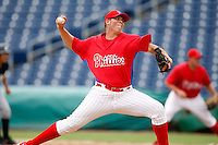 July 10, 2009:  Relief Pitcher Chase Johnson (40) of the GCL Phillies delivers a pitch during a game at Bright House Networks Field in Clearwater, FL.  The GCL Phillies are the Gulf Coast Rookie League affiliate of the Philadelphia Phillies.  Photo By Mike Janes/Four Seam Images