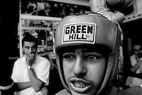 Ramsi Jamil, a Palestinian from East Jerusalem, gets ready for  a boxing match at the Jerusalem Boxing Club.  Located in a bomb shelter, the club has 150 members in which the big majority is Jewish, with a minority of Arabs from East Jerusalem (15 members), Ramsi is one of them. 09/11/2007
