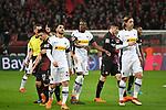 10.03.2018, BayArena, Leverkusen , GER, 1.FBL., Bayer 04 Leverkusen vs. Borussia Moenchengladbach<br /> im Bild / picture shows: <br /> Meinungsverschiedenheit Schiedsrichter, referee Robert Hartmann (SR)Denis Zakaria (Gladbach #8), und Jannik Vestergaard (Gladbach #4),  Vincenzo Grifo (Gladbach #32), <br /> <br /> <br /> Foto &copy; nordphoto / Meuter