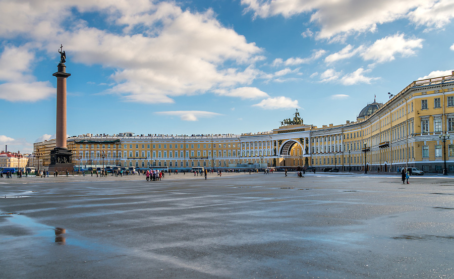 ST. PETERSBURG - CIRCA MARCH 2013: View of Palace Square and Alexander Column, circa March 2013. The city is a popular tourist destination with 221 museums, 2000 libraries, and 80  plus theaters within the city.