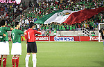 1 March 2006: Mexican fans unveil a large Mexican flag during the playing of the national anthem while Jared Borgetti (9) and Oswaldo Sanchez (1) stand at attention. The National Team of Mexico defeated the National Team of Ghana 1-0 at Pizza Hut Park in Frisco, Texas in an International Friendly soccer match.