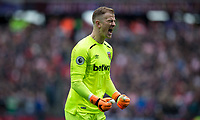 Goalkeeper Joe Hart of West Ham United celebrates a goal during the EPL - Premier League match between West Ham United and Southampton at the Olympic Park, London, England on 31 March 2018. Photo by Andy Rowland.