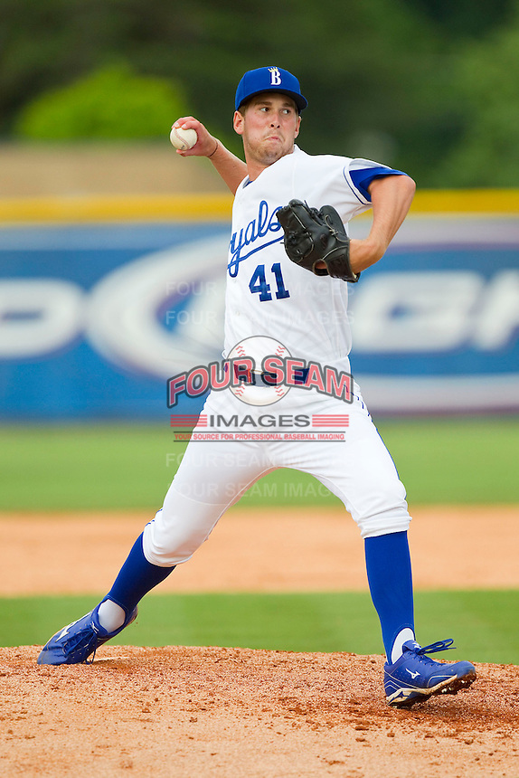 Burlington Royals relief pitcher Niklas Stephenson (41) in action against the Greeneville Astros at Burlington Athletic Park on July 1, 2013 in Burlington, North Carolina.  The Astros defeated the Royals 7-0 in Game One of a doubleheader.  (Brian Westerholt/Four Seam Images)