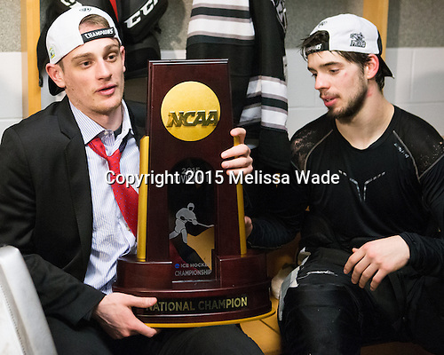 Niko Rufo (PC - 11), Kyle McKenzie (PC - 5) - The Providence College Friars celebrated their national championship win after the Frozen Four final at TD Garden on Saturday, April 11, 2015, in Boston, Massachusetts.
