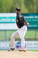 Delmarva Shorebirds starting pitcher Juan Guzman (15) in action against the Kannapolis Intimidators at CMC-Northeast Stadium on April 17, 2013 in Kannapolis, North Carolina.  The Shorebirds defeated the Intimidators 9-4.  (Brian Westerholt/Four Seam Images)