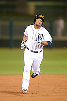 Mesa Solar Sox second baseman Devon Travis (49), of the Detroit Tigers organization, during an Arizona Fall League game against the Peoria Javelinas on October 17, 2013 at HoHoKam Park in Mesa, Arizona.  Mesa defeated Peoria 6-1.  (Mike Janes/Four Seam Images)