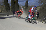 The peloton including Canadian National Champion Antoine Duchesne (CAN) Groupama-FDJ on sector 2 Bagnaia during Strade Bianche 2019 running 184km from Siena to Siena, held over the white gravel roads of Tuscany, Italy. 9th March 2019.<br /> Picture: Eoin Clarke | Cyclefile<br /> <br /> <br /> All photos usage must carry mandatory copyright credit (&copy; Cyclefile | Eoin Clarke)