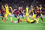UEFA Champions League 2013/2014.<br /> Quarter-finals 1st leg.<br /> FC Barcelona vs Club Atletico de Madrid: 1-1.<br /> Gabi, Andres Iniesta &amp; Filipe Luis.