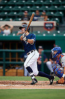 Lakeland Flying Tigers third baseman Zac Shepherd (4) follows through on a swing during the first game of a doubleheader against the St. Lucie Mets on June 10, 2017 at Joker Marchant Stadium in Lakeland, Florida.  Lakeland defeated St. Lucie 6-5 in fourteen innings.  (Mike Janes/Four Seam Images)