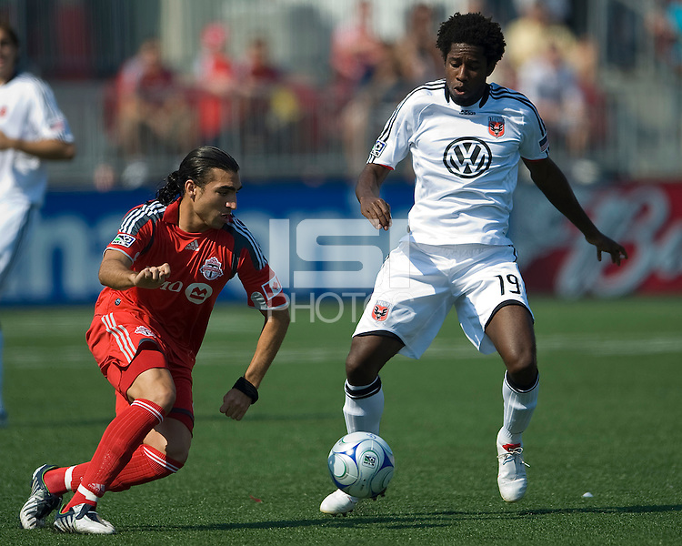 15 August 2009:Toronto FC forward Pablo Vitti #8 and D.C. United midfielder Clyde Simms #19 in action during an MLS game at BMO Field in Toronto between D.C. United and Toronto FC..Toronto FC won 2-0..Photo by Nick Turchiaro/isiphotos.com.