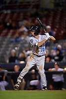 Hudson Valley Renegades designated hitter Tanner Dodson (10) at bat during a game against the Connecticut Tigers on August 20, 2018 at Dodd Stadium in Norwich, Connecticut.  Hudson Valley defeated Connecticut 3-1.  (Mike Janes/Four Seam Images)