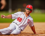22 February 2019: Washington Nationals infielder Jacob Wilson slides home taking drills during a Spring Training workout at the Ballpark of the Palm Beaches in West Palm Beach, Florida. Mandatory Credit: Ed Wolfstein Photo *** RAW (NEF) Image File Available ***