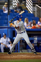 St. Lucie Mets catcher Dan Rizzie (7) at bat during a game against the Dunedin Blue Jays on April 19, 2017 at Florida Auto Exchange Stadium in Dunedin, Florida.  Dunedin defeated St. Lucie 9-1.  (Mike Janes/Four Seam Images)