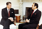 United States President Ronald Reagan meets with Elie Adib Salem, Minister of Foreign Affairs of Lebanon in the Oval Office of the White House in Washington, DC on June 8, 1983.<br /> Mandatory Credit: Billie B. Shaddix/ White House via CNP