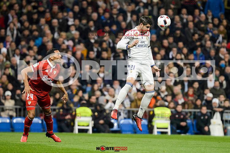 Real Madrid's Alvaro Morata and Sevilla FC's Mercado during Copa del Rey match between Real Madrid and Sevilla FC at Santiago Bernabeu Stadium in Madrid, Spain. January 04, 2017. (ALTERPHOTOS/BorjaB.Hojas) NortePhoto.com