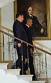 United States President Barack Obama and President XI Jinping of China descend the Grand Staircast to pose for a formal photo prior to a State Dinner at the White House in Washington, DC on Friday, September 25, 2015.<br /> Credit: Ron Sachs / CNP