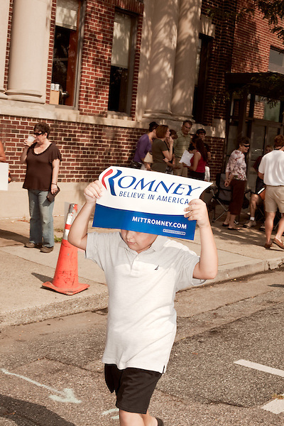 August 11, 2012. Ashland, VA.. Romney/ Ryan campaign supporters gathered outside Homemades by Suzanne, a local restaurant where the candidates planned on stopping..  Republican presidential candidate Mitt Romney campaigned through Virginia and North Carolina over the weekend, showing off his new vice presidential pick Paul Ryan. The candidates stopped at several small businesses highlighting their promise to champion the needs of business owners across the country.