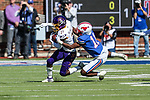 East Carolina Pirates defensive back Ja'Quan McMillian (21) in action during the game between the East Caroline Pirates  and the SMU Mustangs at the Gerald J. Ford Stadium in Fort Worth, Texas.