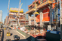 Construction of the Hudson Yards development in New York on Friday, October 14, 2016. Looking up Eleventh Avenue from the High Line Park.  (© Richard B. Levine)