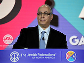 """In remarks at the General Assembly of the Jewish Federations of North America at the Washington Hilton in Washington, D.C. on Tuesday, November 15, 2016, Chemi Peres, son of the late Israeli president, Simon Peres, recalled lessons from his father's life who would have called on the Jewish community to work for peace. He also recalled when President John Kennedy was elected he was asked Israel's first prime minster, David Ben-Gurion what the best thing he could do to be a good president for Israel. Ben-Gurion immediately replied, """"be a great president of the United States.""""<br /> Credit: Ron Sachs / CNP"""