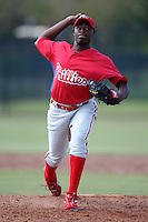 Philadelphia Phillies minor league pitcher Hector Neris vs. the Toronto Blue Jays in an Instructional League game at the Carpenter Complex in Clearwater, Florida;  October 9, 2010.  Photo By Mike Janes/Four Seam Images