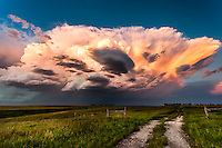 Nebraska Thunderstorm Cloud at Sunset