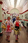 Lucy Wilkinson, alias Dr Looloo, and Sally Rigley, alias Dr Hunny, in the corridors of the Royal Manchester Children hospital and going to the oncology ward.