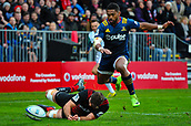 June 3rd 2017, AMI Stadium, Christchurch, New Zealand; Super Rugby; Crusaders versus Highlanders;  Waisake Naholo of the Highlanders jumps over Heiden Bedwell-Curtis of the Crusaders to score a try during the Super Rugby match