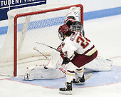 Florence Schelling (Northeastern - 41) stops Mary Restuccia (BC - 22) in the shootout. - The Northeastern University Huskies defeated the Boston College Eagles in a shootout on Monday, January 31, 2012, in the opening round of the 2012 Women's Beanpot at Walter Brown Arena in Boston, Massachusetts. The game is considered a 1-1 tie for NCAA purposes.