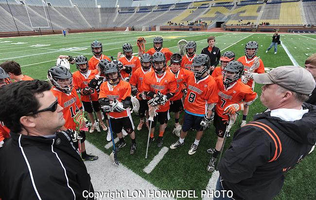 Ann Arbor Blue Jays vs. Brother Rice Warriors travel lacrosse at Michigan Stadium, Wednesday, April 17, 2013.