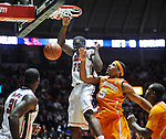 "Mississippi's Reginald Buckner (23) dunks against Tennessee's Jarnell Stokes (5)  at the C.M. ""Tad"" Smith Coliseum on Thursday, January 24, 2013. Mississippi won 62-56 to improve to 5-0 in the SEC. (AP Photo/Oxford Eagle, Bruce Newman)"