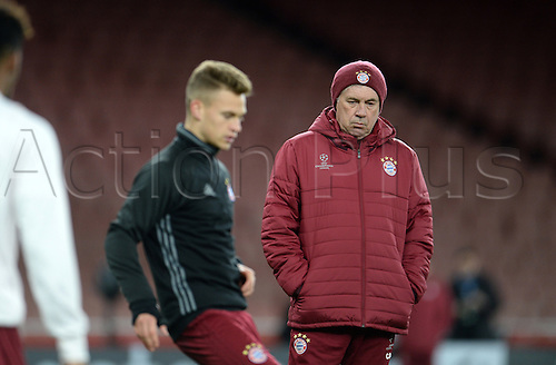 March 6th 2017, London England;  Munich's manager CarloAncelotti watches as the team prepares for the second leg of the Champions League round of 16 tie against FC Arsenal during a training session in the Emirates stadium.