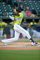Shortstop Ronny Mauricio (2) of the Columbia Fireflies bats in a game against the Hickory Crawdads on Wednesday, August 28, 2019, at Segra Park in Columbia, South Carolina. Hickory won, 7-0. (Tom Priddy/Four Seam Images)