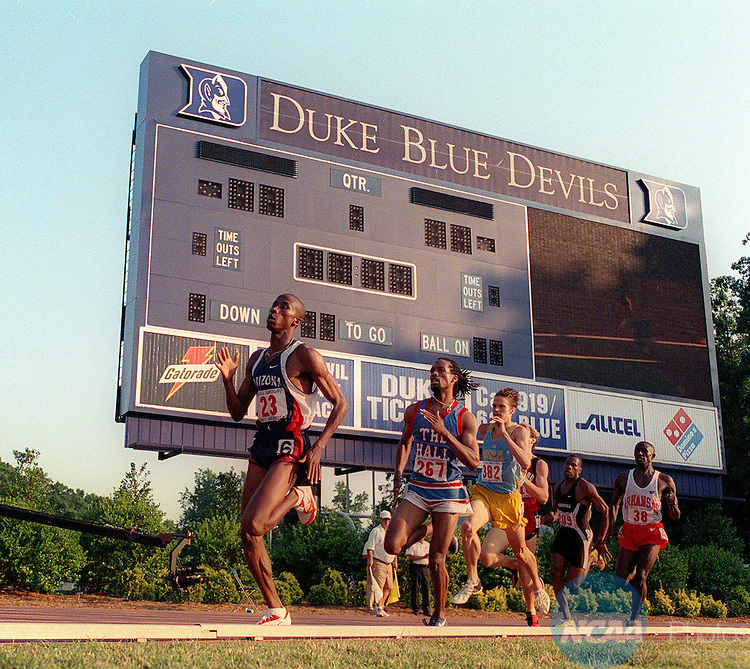 03 JUNE 2000:  Patrick Nduwimana, Arizona, holds the lead in the final lap of the menâ 800 meter run in the NCAA Track and Field Championships at Duke Un iversity.  He is followed by Ned Brooks of Seton Hall and Jess Strutzel of UCLA.  Nduwimana won the 2000 outdoor championship in 1:45.08.   Rich Clarkson/NCAA Photos