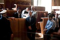 Roma, 11 Giugno 2012.I movimenti del Forum Acqua Bene Comune  protestano nell'Aula del consiglio comunale in Campidoglio contro la cessione del 21% della controllata Acea, l'azienda che si occupa di acqua e servizi. Il consigliere comunale del PDL , Federico Mollicone Presidente della Commissione Cultura, Sport e Politiche Giovanili.
