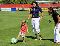 Members of the 1999 FIFA Women's World Cup winning squad Saskia Webber and Sara Whalen during the ceremonial first kick. Sky Blue FC defeated the Boston Breakers 1-0 during a Women's Professional Soccer match at Yurcak Field in Piscataway, NJ, on July 4, 2009.