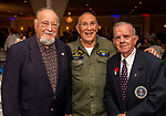 "WATERBURY, CT. 23 May 2018-052318BS93 -From left, James Uriano of Waterbury, Army Air Force Roundtable of CT President, Frank Mirto, stand Waterbury Veterans Committee Vice Chairman John Sarlo at the Waterbury Veterans Committee's ""Support Our Troops"" Annual Dinner at the Ponte Club on Wednesday evening. Bill Shettle Republican-American"