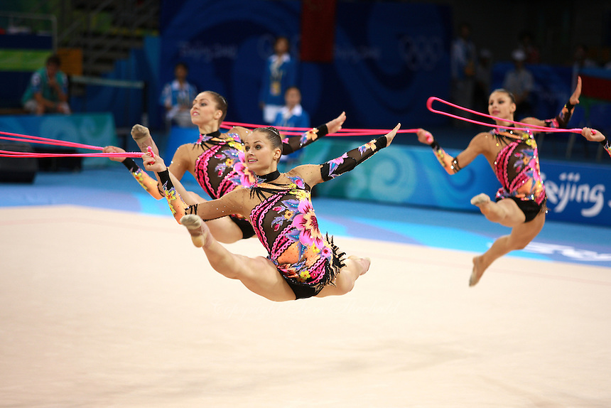 August 24, 2008; Beijing, China; Rhythmic group from Belarus performs 5-ropes routine on way to taking silver in the group All-Around final at 2008 Beijing Olympics..(©) Copyright 2008 Tom Theobald