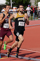 Missouri's Ricky West runs to a runner-up finish in the 800 final at the 2012 Big 12 Outdoor Track & Field Championships in Manhattan, Ks, Sunday, May 13. A finish stretch surge by Iowa State's Edward Kemboi kept West from sweeping the indoor and outdoor conference 800 titles, with West finishing in 1:47.33, 68/100ths of a second behind Kemboi.