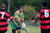 Tukimom Taulanga prepares to kick ahead as the Papakura loose forwards Loza Sinori & Kelly Maka converge. Counties Manukau Premier Club Rugby Game of the Week between Drury & Papakura, played at Drury Domain on Saturday Aprill 11th, 2009..Drury won 35 - 3 after leading 15 - 5 at halftime.