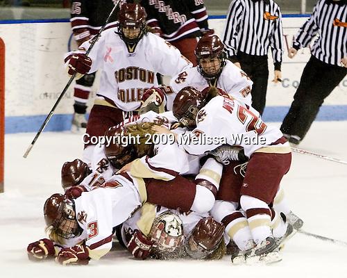 - The Boston College Eagles defeated the Harvard University Crimson 1-0 to win the Beanpot on Tuesday, February 10, 2009, at Matthews Arena in Boston, Massachusetts.