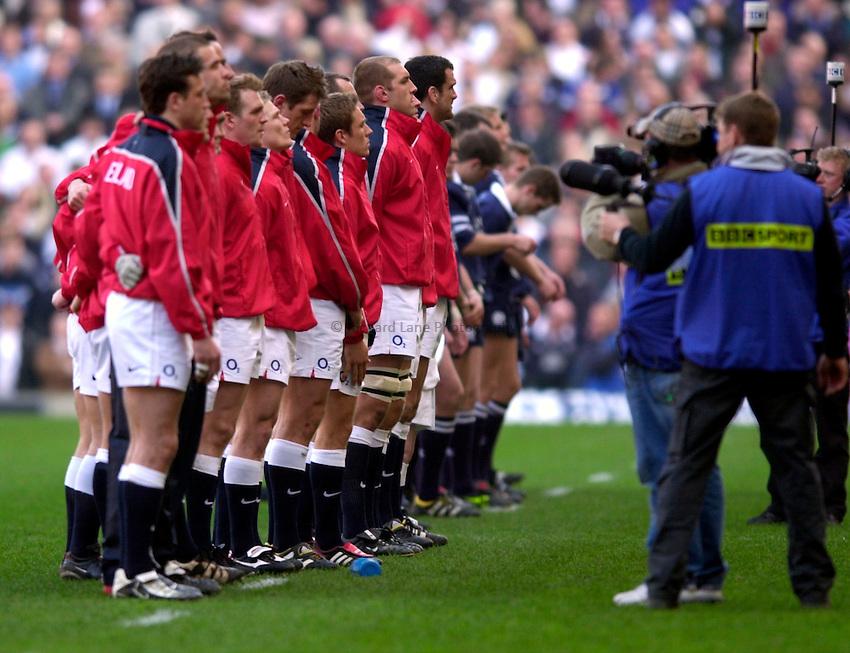 Photo. Richard Lane.England v Scotland. RBS Six Nations Chamionship. 22/03/2003.The England team.