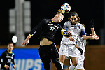 GREENSBORO, NC - DECEMBER 02: Matias Warp #17 of North Park University battles Nick West #11 of Messiah College for a header during the Division III Men's Soccer Championship held at UNC Greensboro Soccer Stadium on December 2, 2017 in Greensboro, North Carolina. Messiah College defeated North Park University 2-1 to win the national title. (Photo by Grant Halverson/NCAA Photos via Getty Images)